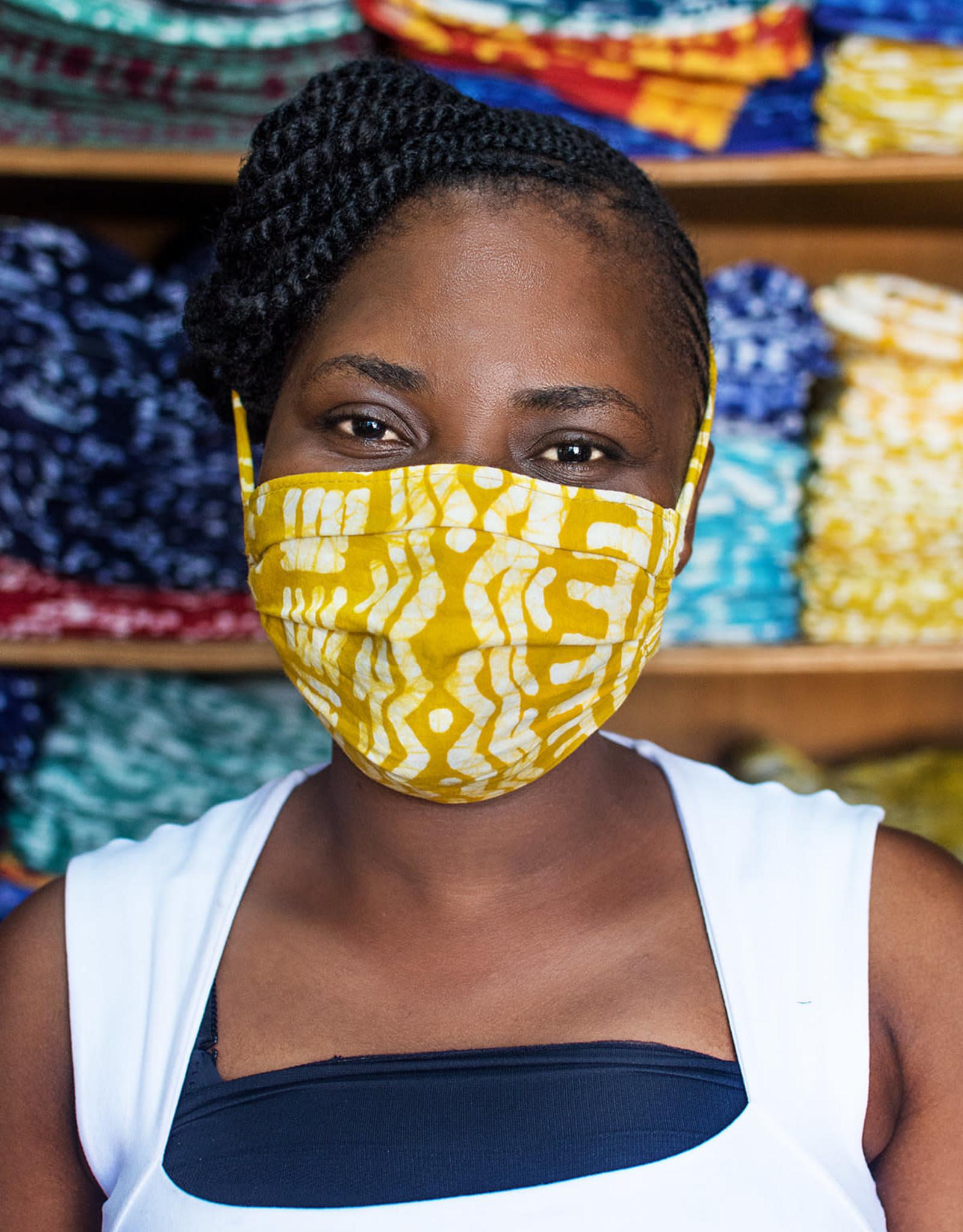 Global Mamas Blue Purple Batik Face Mask Adult