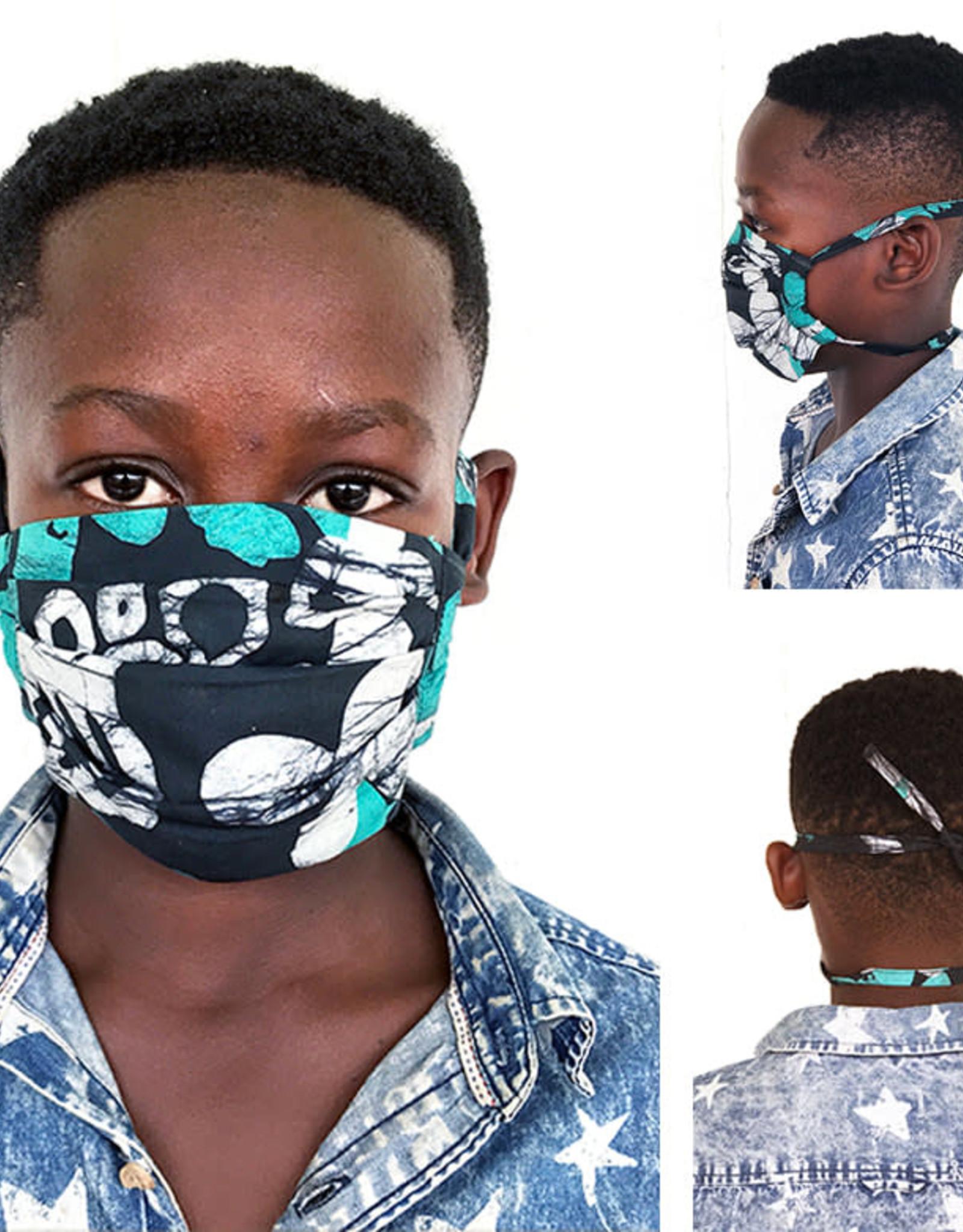 Elephants Blueberry Batik Face Mask Youth
