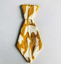 Global Mamas Pet Tie Mustard Animal Batik