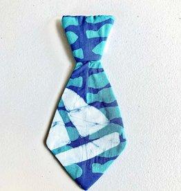 Global Mamas Pet Tie Teal Blue Batik