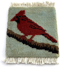 Mug Rug Cardinal on Branch - Blue