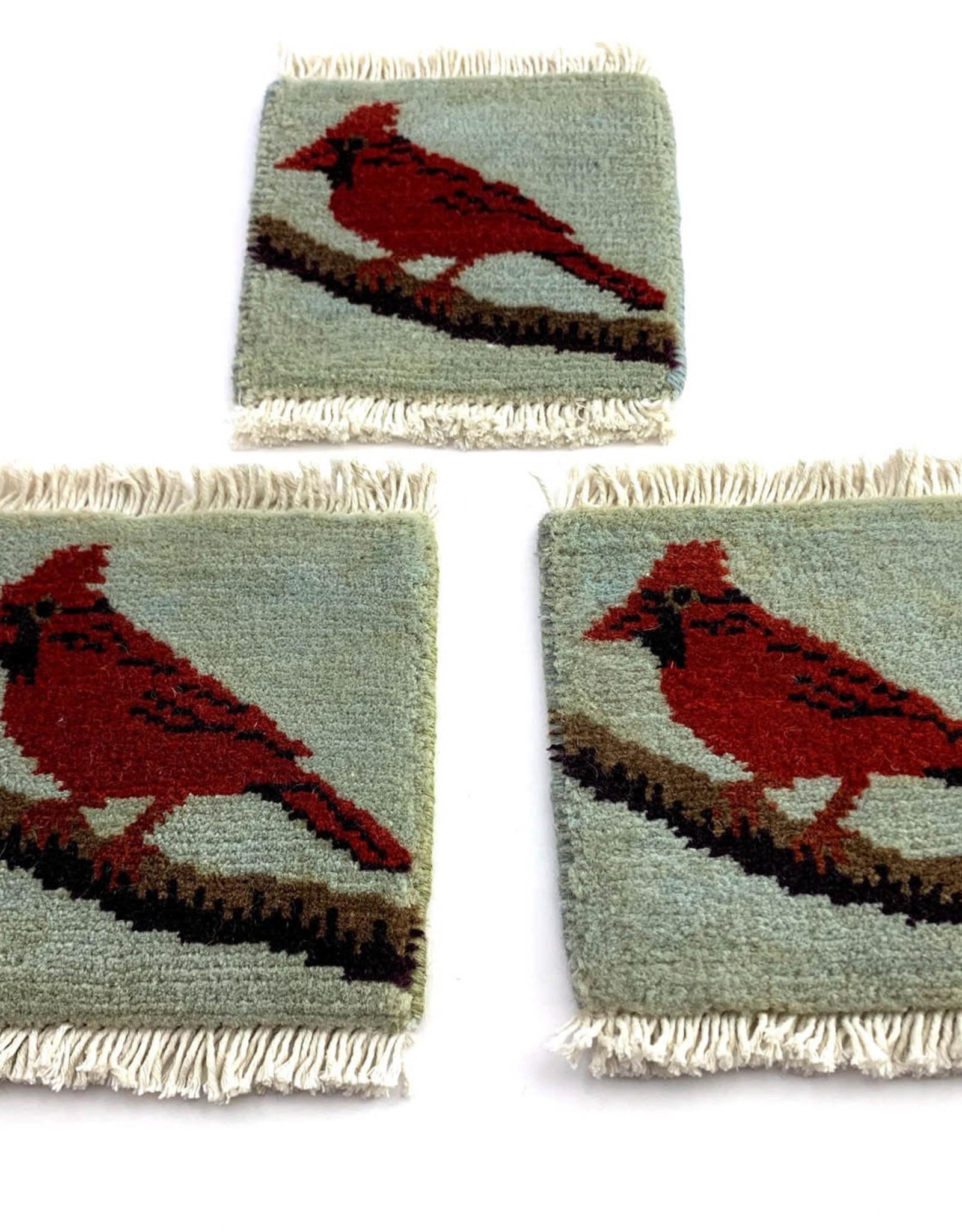 Cardinal on Branch Mug Rug Blue