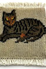 Cat Relaxin' Mug Rug Grey