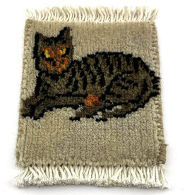 Bunyaad Pakistan Cat Relaxin' Mug Rug Grey