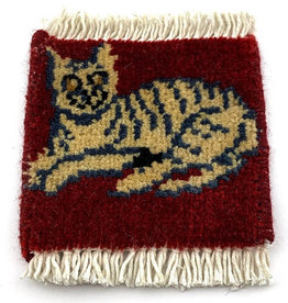 Bunyaad Pakistan Cat Relaxin' Mug Rug Red