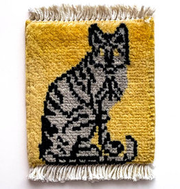 Bunyaad Pakistan Cat on Alert Mug Rug Gold