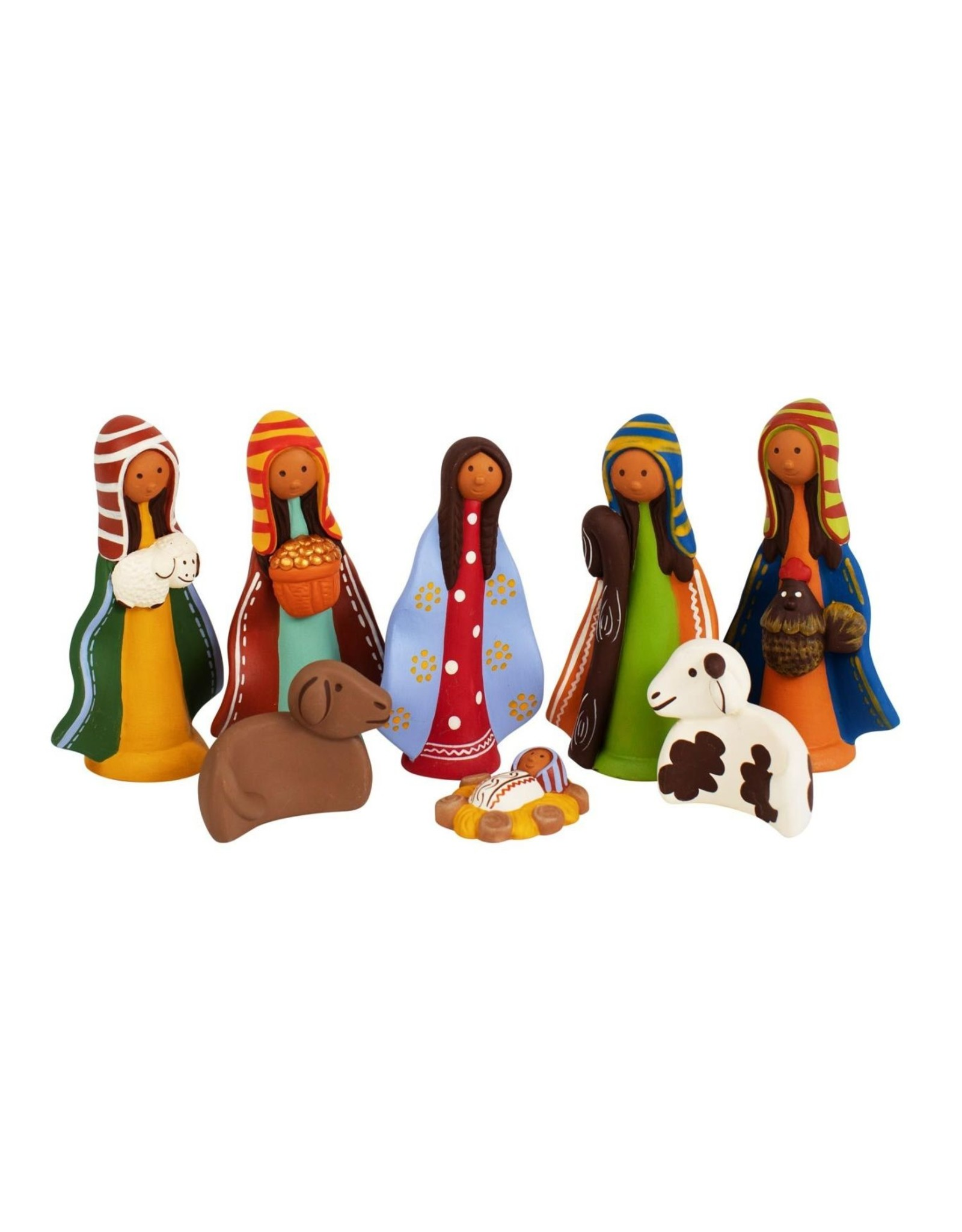 Colorful Ceramic Nativity 8pc