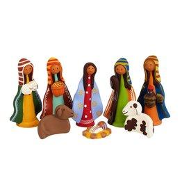 Colorful Ceramic Nativity 8pc