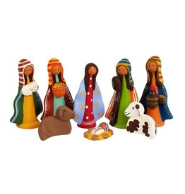 Ten Thousand Villages Colorful Ceramic Nativity 8pc