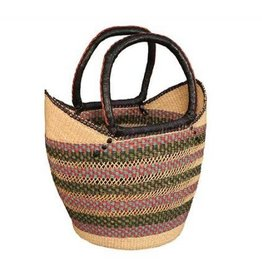 African Market Baskets Shopping Tote w/ Thin Rim