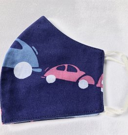Blue Cars Reusable Cotton Face Masks-Youth