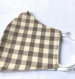 Khaki Gingham Reusable Cotton Face Masks-Youth