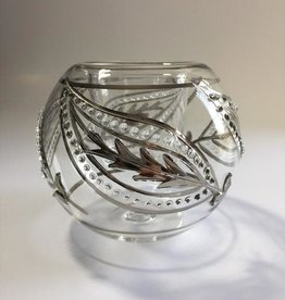 Dandarah Blown Glass Candle Holder - Silver Kashmir