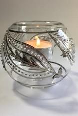Dandarah Blown Glass Candle Holder - Silver Kashmir