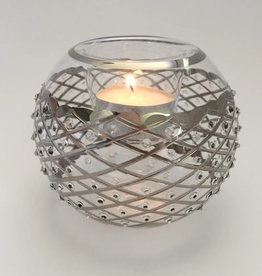 Dandarah Silver Diamonds Blown Glass Candle Holder