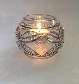 Dandarah Blown Glass Candle Holder - Silver Carousel