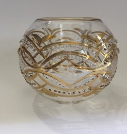 Dandarah Blown Glass Candle Holder - Gold Carousel