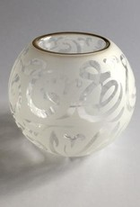 Dandarah Blown Glass Candle Holder - Calligraphy in White
