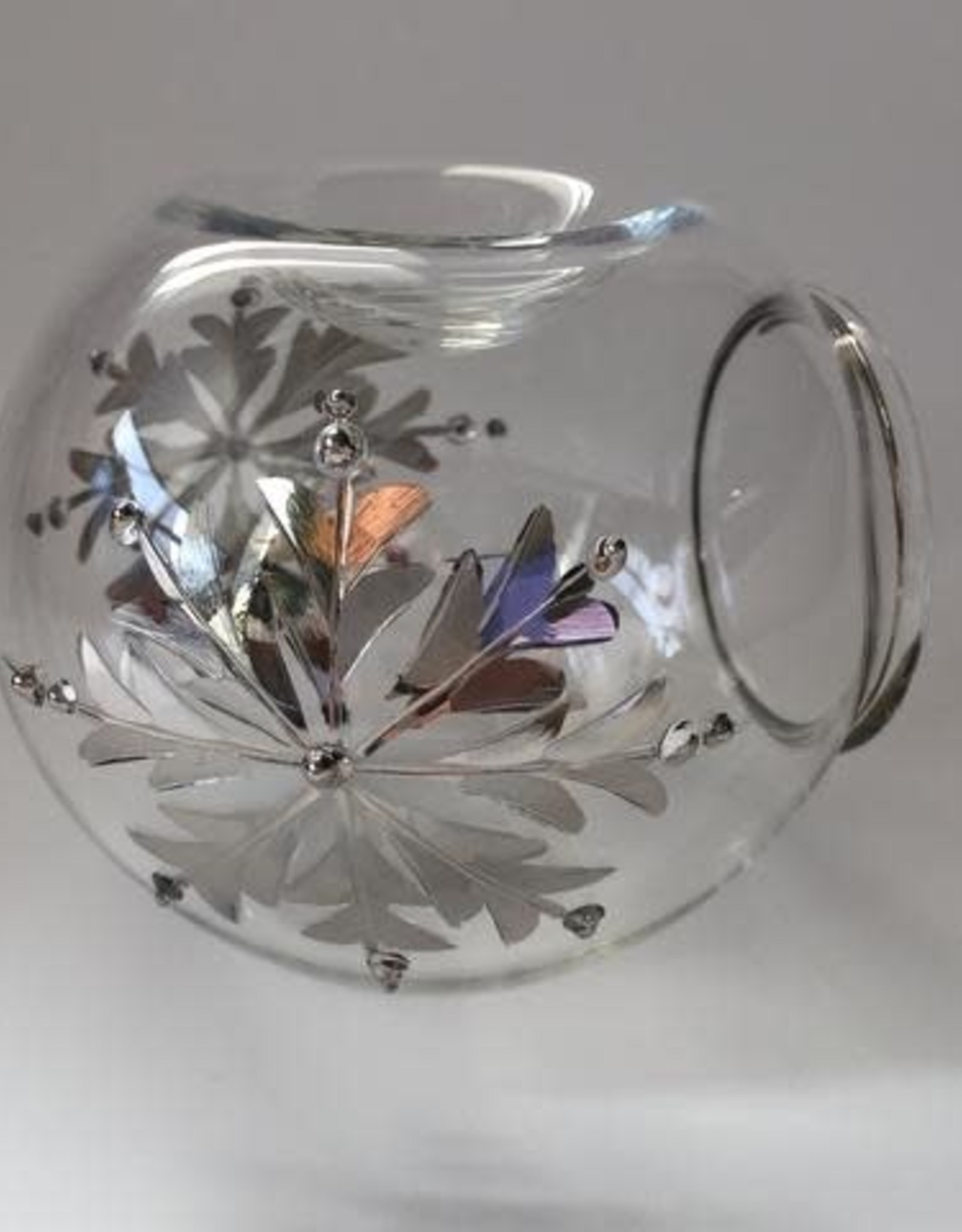 Dandarah Blown Glass Oil Diffuser - Silver Snow Flake