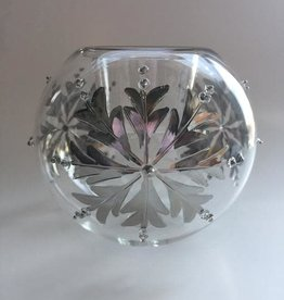 Dandarah Blown Glass Candle Holder - Silver Snow Flake