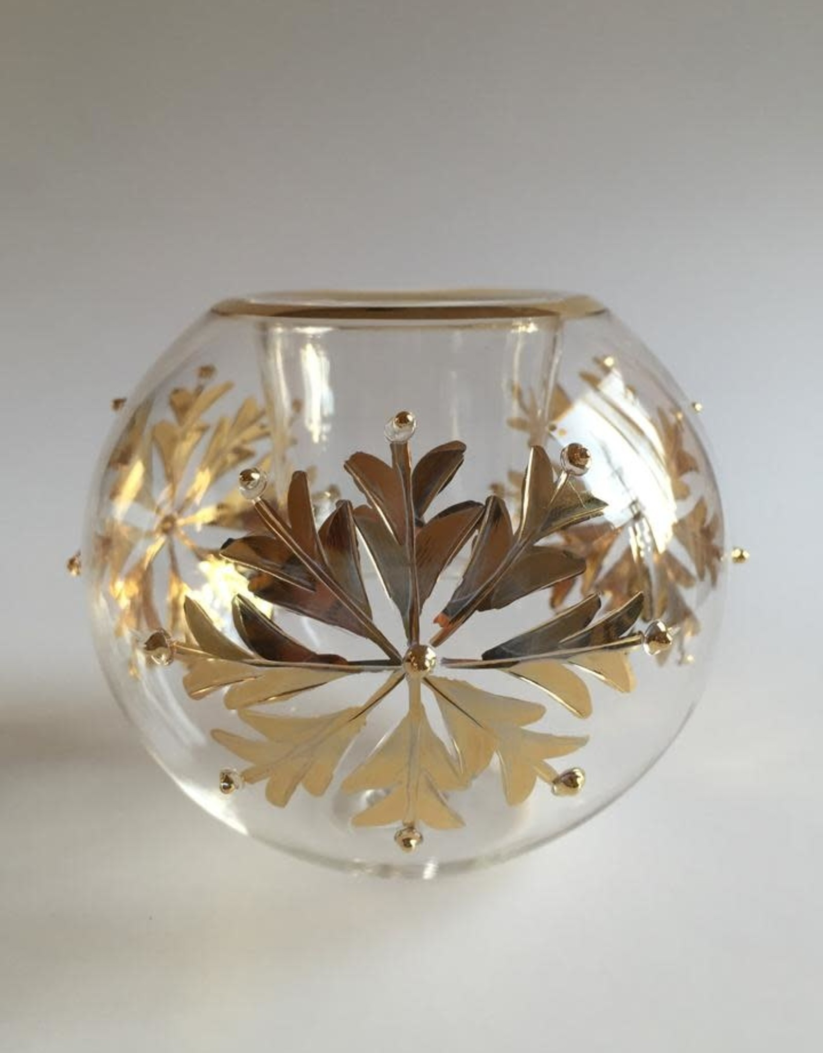 Dandarah Blown Glass Candle Holder - Gold Snow Flake