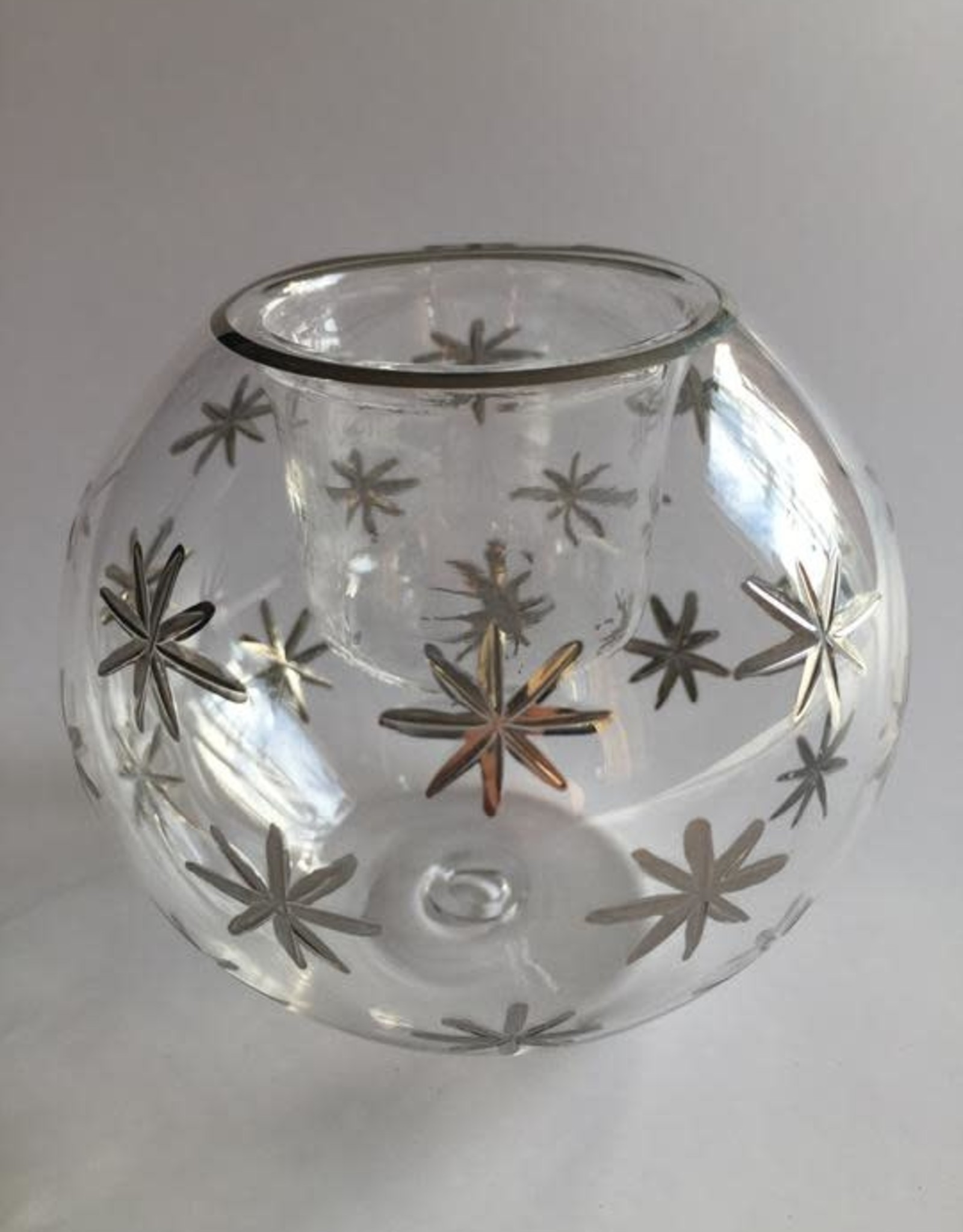 Dandarah Blown Glass Candle Holder - Silver Stars