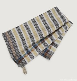 Ten Thousand Villages Striped Tea towel cttn yel/gry/wht