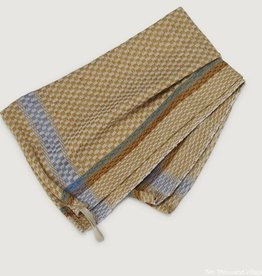 Ten Thousand Villages Gold Checked Tea towel cttn gold/blu/teal