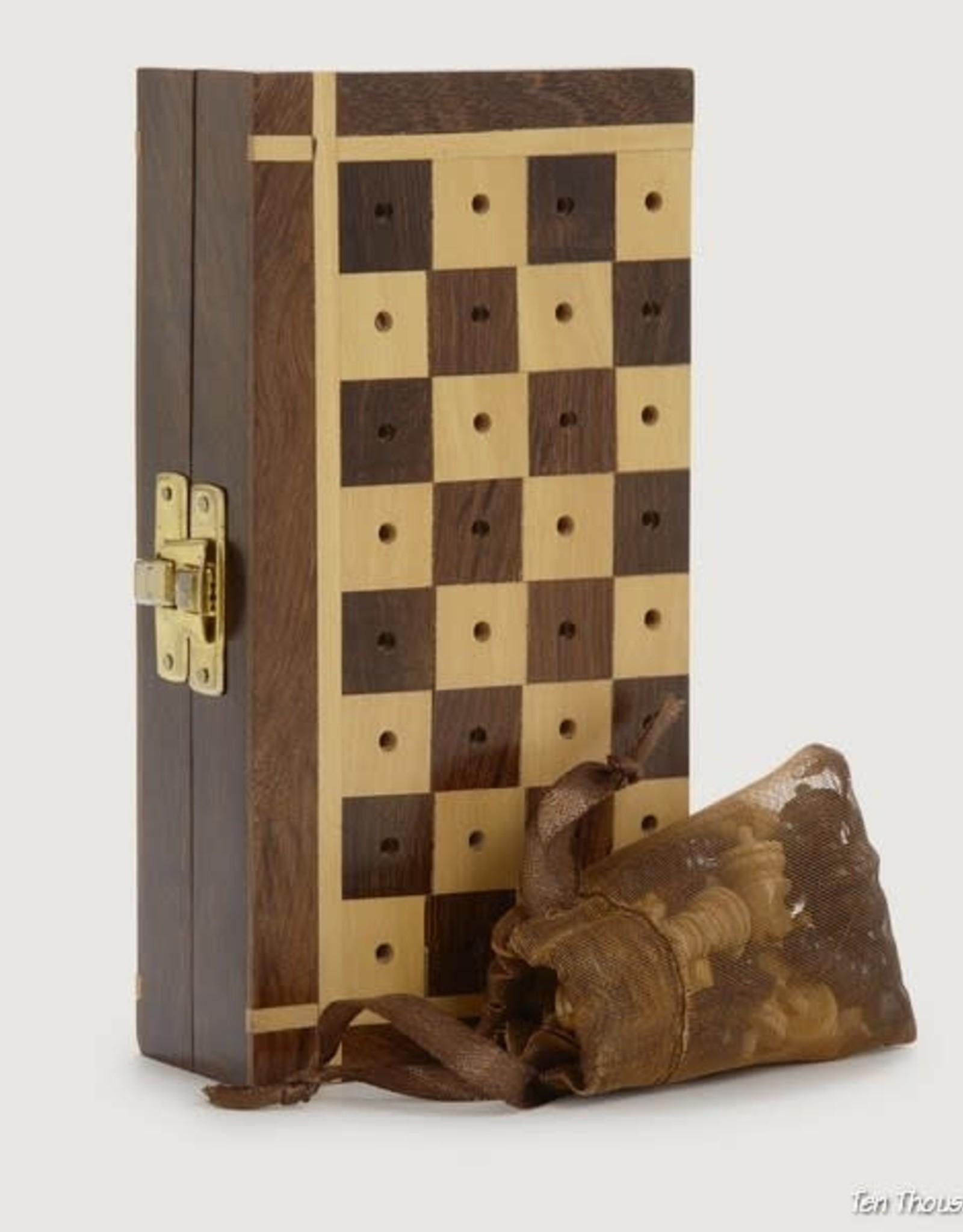 Ten Thousand Villages Shesham Travel Chess Set