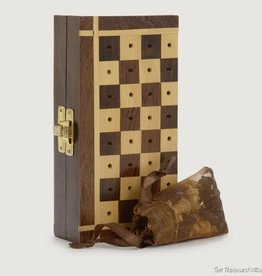 Ten Thousand Villages Shesham Travel Chess Set