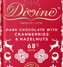 Divine Chocolate Limited Edition Dark Chocolate with Cranberries & Hazelnuts