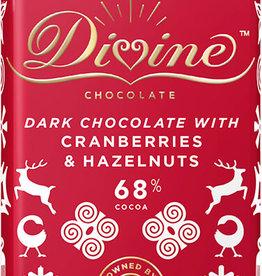 Divine Chocolate Limited Edition Dark Chocolate with Cranberries & Hazelnuts