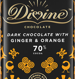 Divine Chocolate 70% Dark Chocolate with Ginger & Orange