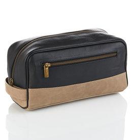 Serrv Black & Taupe Leather Dopp Bag