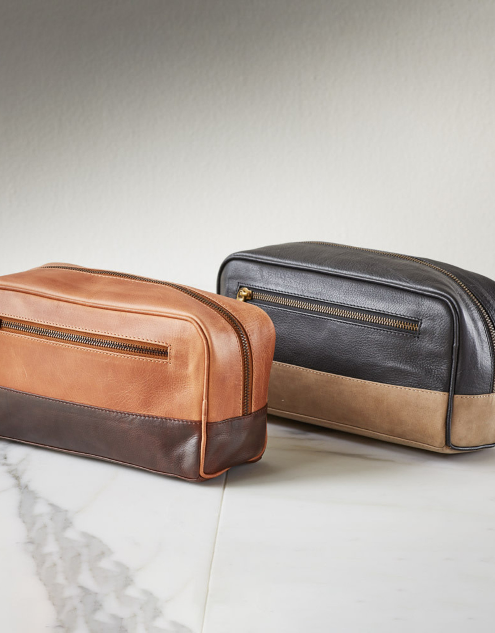Serrv Copper & Chestnut Leather Dopp Bag