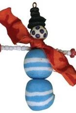 Beaded Blue Snowman Ornament