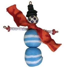 Global Mamas Beaded Blue Snowman Ornament