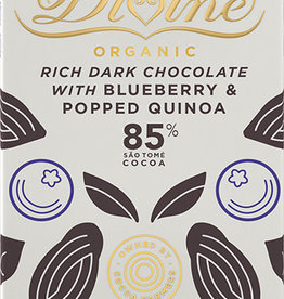 Divine Chocolate 85% Dark Chocolate With Blueberry & Popped Quinoa