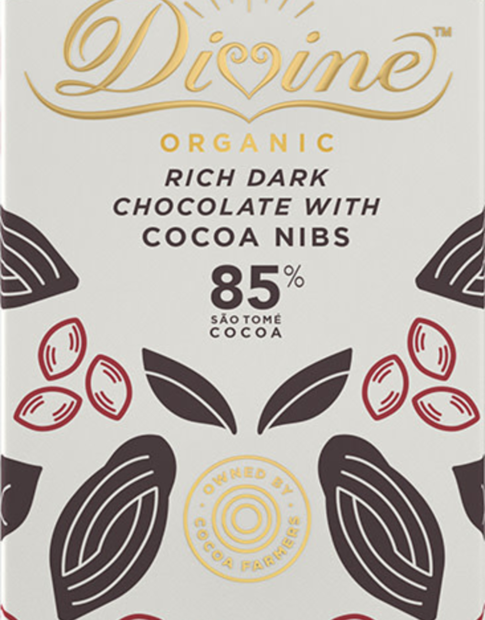 Divine Chocolate 85% Dark Chocolate with Cocoa Nibs