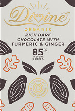Divine Chocolate 85% Dark Chocolate With Turmeric & Ginger