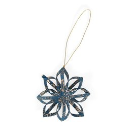 Ten Thousand Villages Touch of Gold Star Ornament - Blue