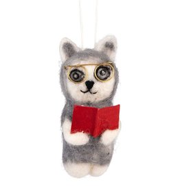 Ten Thousand Villages Library Cat Ornament