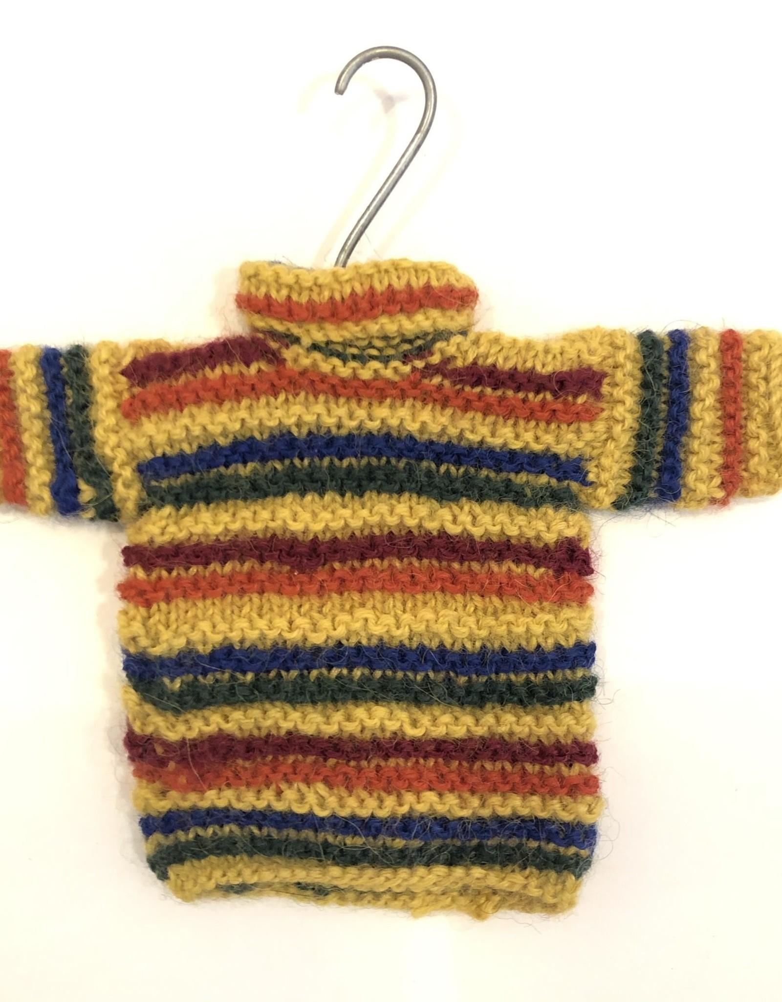 Ten Thousand Villages Handknit Sweater Ornament Gold Assorted