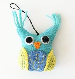 Hamro Village Embroidered Owl Ornament