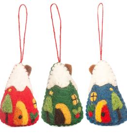 Hamro Village Snowy House Ornament