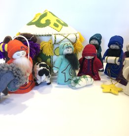 J127 Ranch Felted Yurt Nativity-13pc