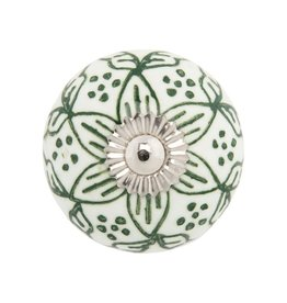 Mela Artisans Chambal Gardens Painted Lily Ceramic Knob Ivory/Gold