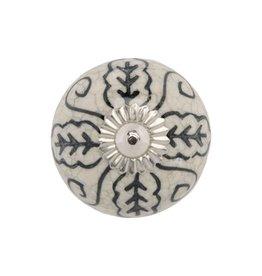 Mela Artisans BOX Chambal Gardens Painted Ceramic Knob - Indigo White