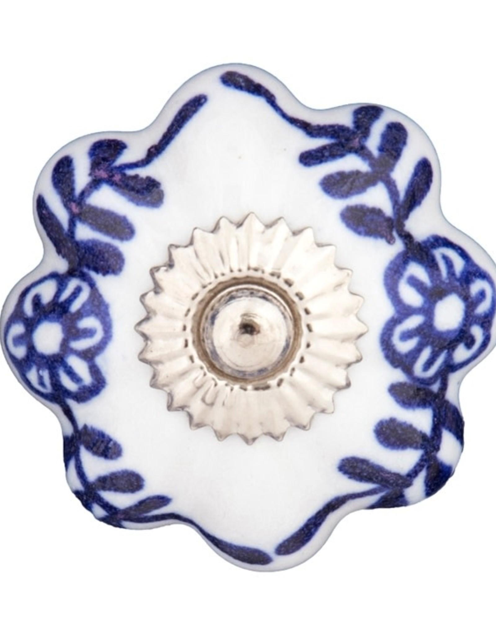 Mela Artisans Chambal Gardens Painted Daisies Ceramic Knob Indigo