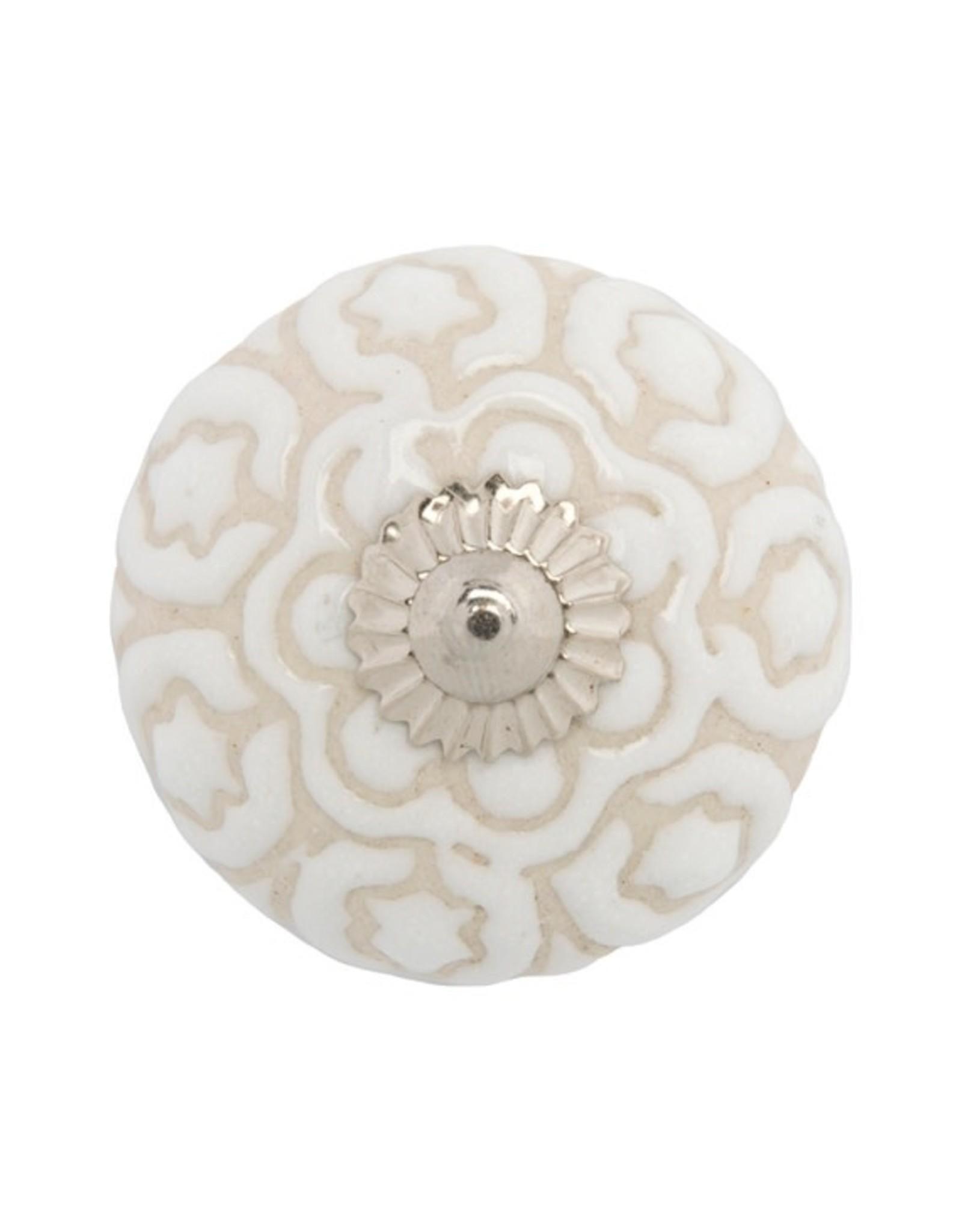 Mela Artisans Chambal Gardens Sweet Pea Round Ceramic Knob White